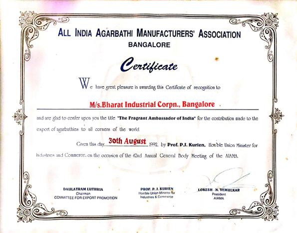 "All India Agarbatti Manufacturers Association Certificate - ""The Fragrance Ambassador of India"""
